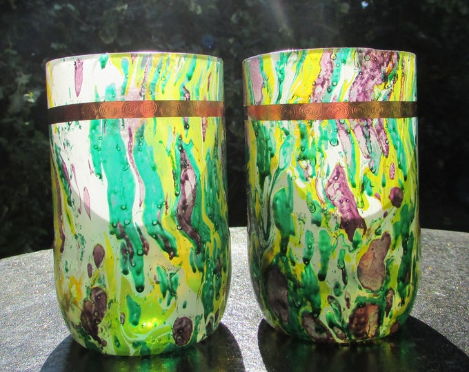 Summer Meadow Marble Dipped Upcycled Glasses (pair)