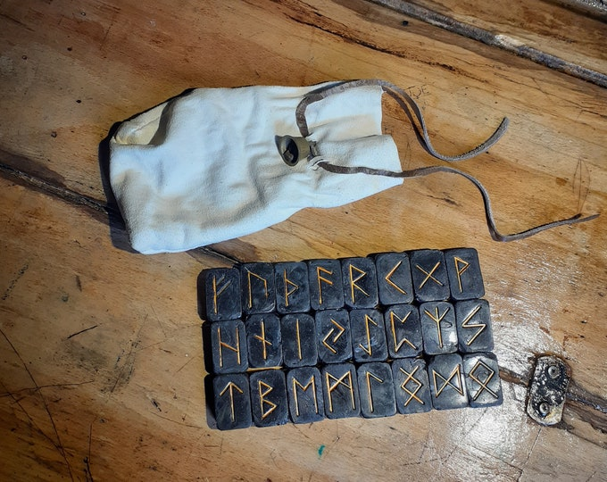 Upcycled Black Runestones With Leather Bag