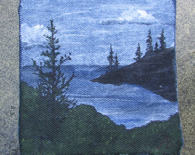 Tiny original canvas painting upcycled on denim jeans material