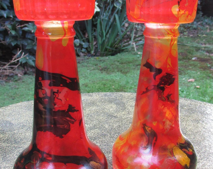 Furnace-Red Marble Dipped Candlesticks (pair)