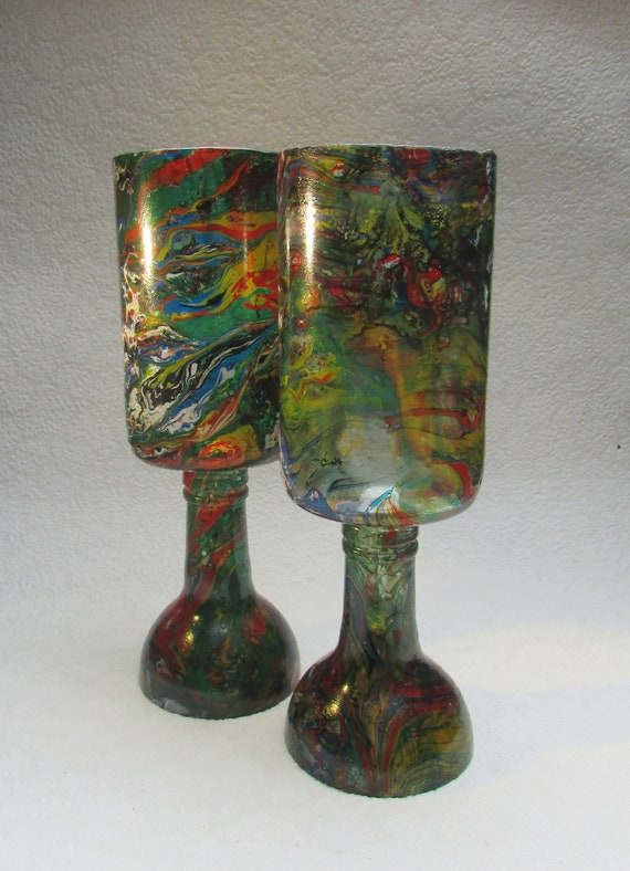 Multicoloured Marbled Goblets (pair)
