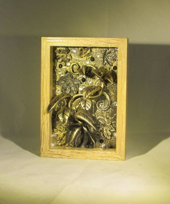 Botanical Gold and Silver Sculpted Plants with Jewels in Wood Frame