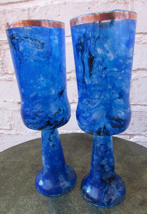 Large Blue Marbled Goblets (pair)