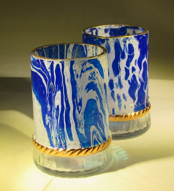 Blue and White Upcycled Juice Glasses (pair), copper bound trim