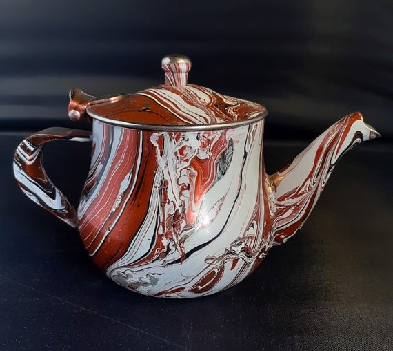 Small Metal Marbled Teapot