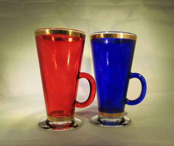Red and Blue Copper Bound Latte Glasses (pair)