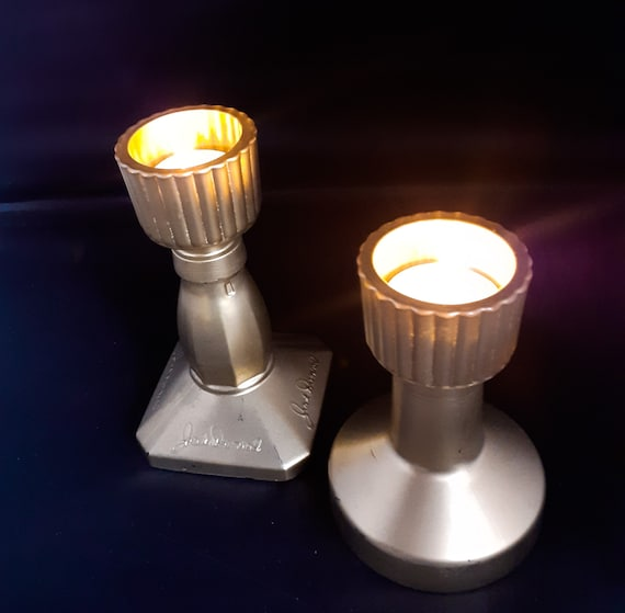 Gilt Jack Daniels and Gin Bottle Candle Holders