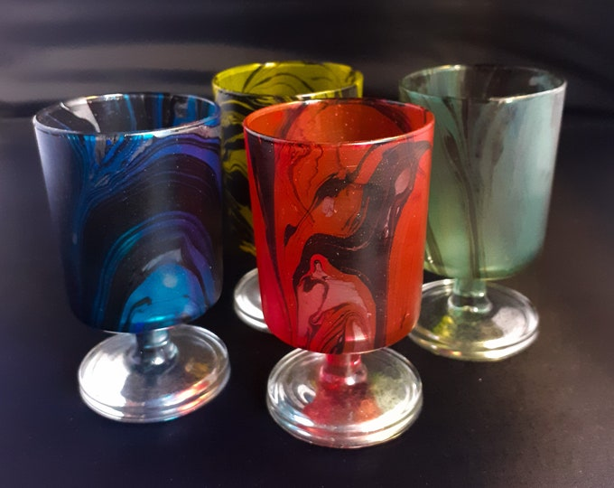 Jewel Coloured Set of Marbled & Mirrored Glasses