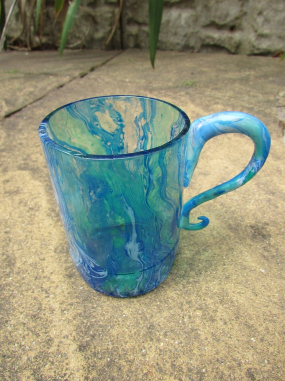 Blue Marbled Glass With Handle (single)