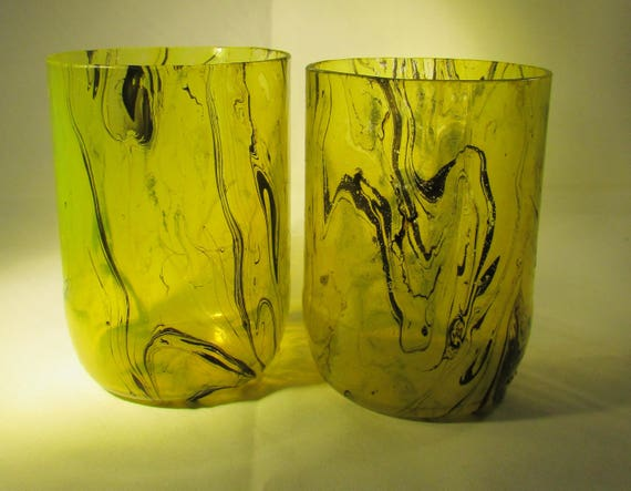 Yellow and Black Marbled Glasses (pair), spring colour, upcycled glass