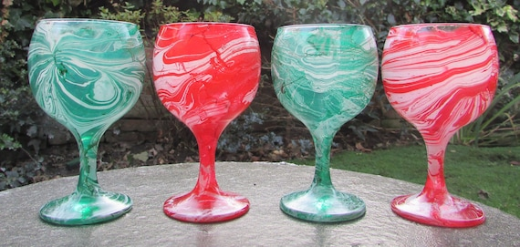 Christmas Candy Marble Swirl Wine Glasses (set of four)