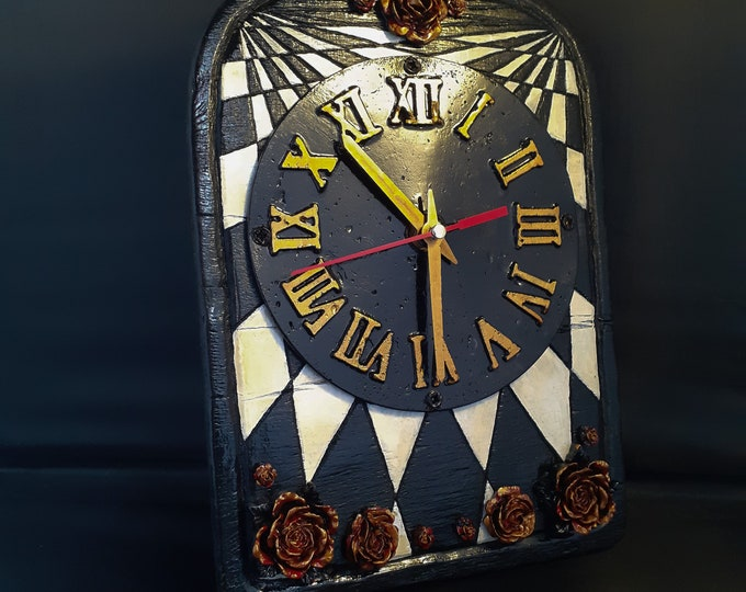 Alice In Wonderland Inspired Upcycled Geometric Rose Clock
