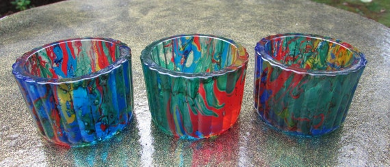 Set of Three Stained Glass Candleholders