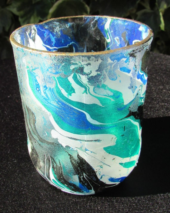 Blue Wave Marbled Glass