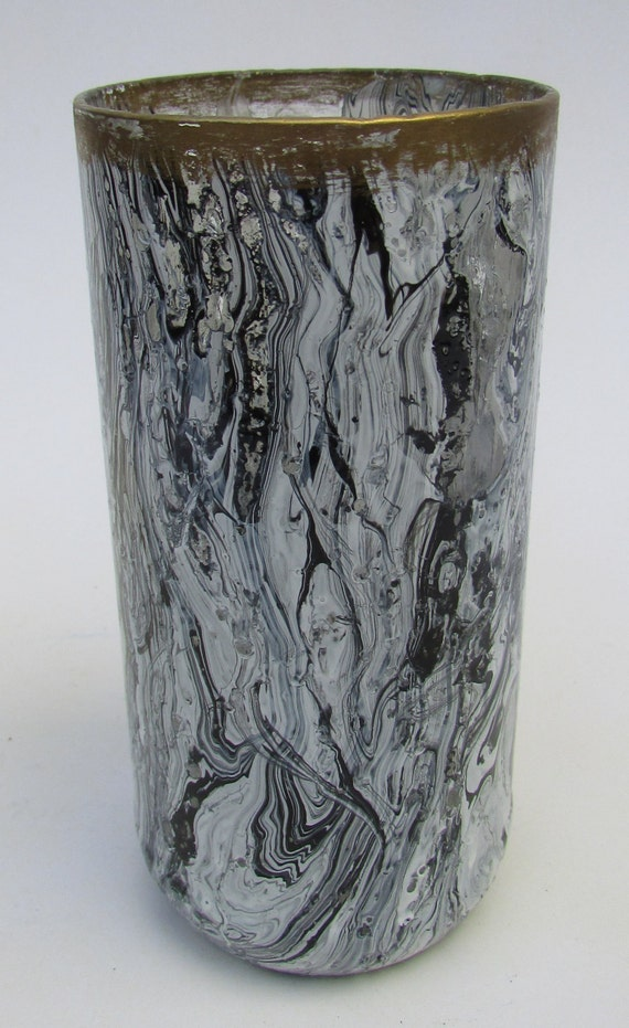 Black and White Marbled glass