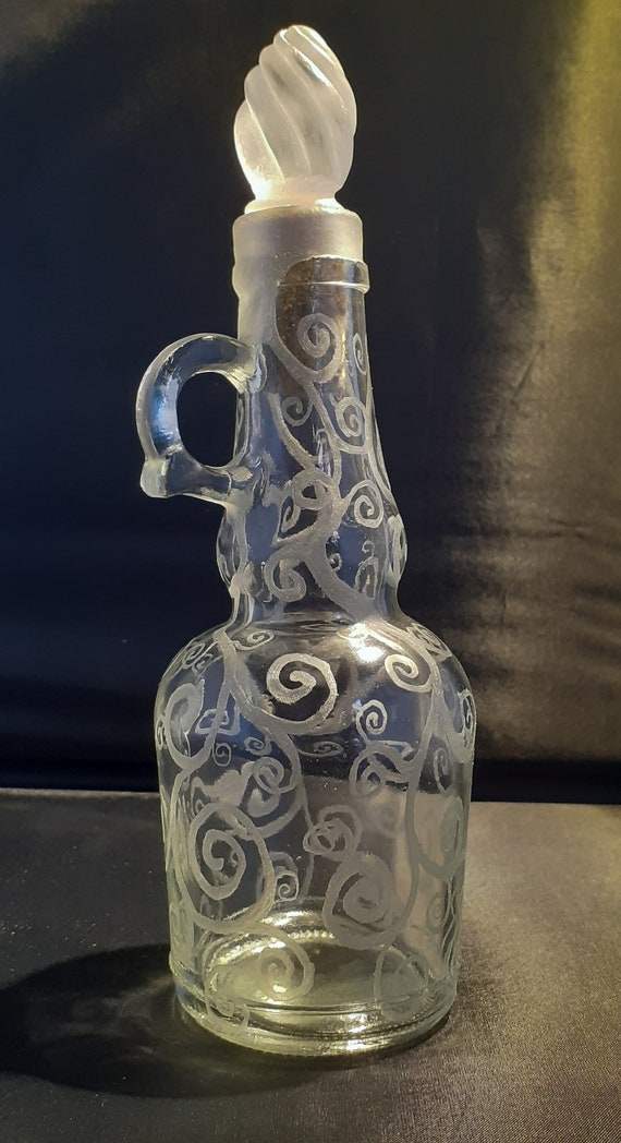 Engraved Glass Bottle With Carved Stopper