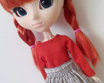 Foxy red blouse for pullip blythe azone momoko obitsu and similar dolls