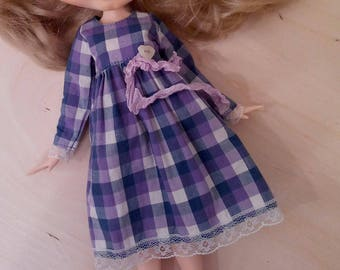 Purple/blue checked dress nr 2 for pullip blythe azone momoko obitsu dolls