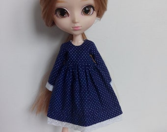 Dotted dress no 2 - different finishing lace - for pullip blythe azone momoko obitsu and similar dolls