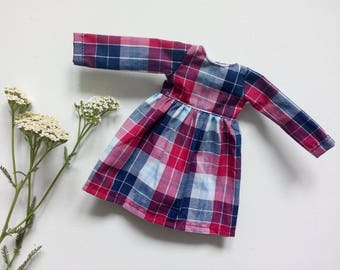 Super cute plaid dress for school or country outfit or any holiday set for pullip blythe azone momoko obitsu and similar doll