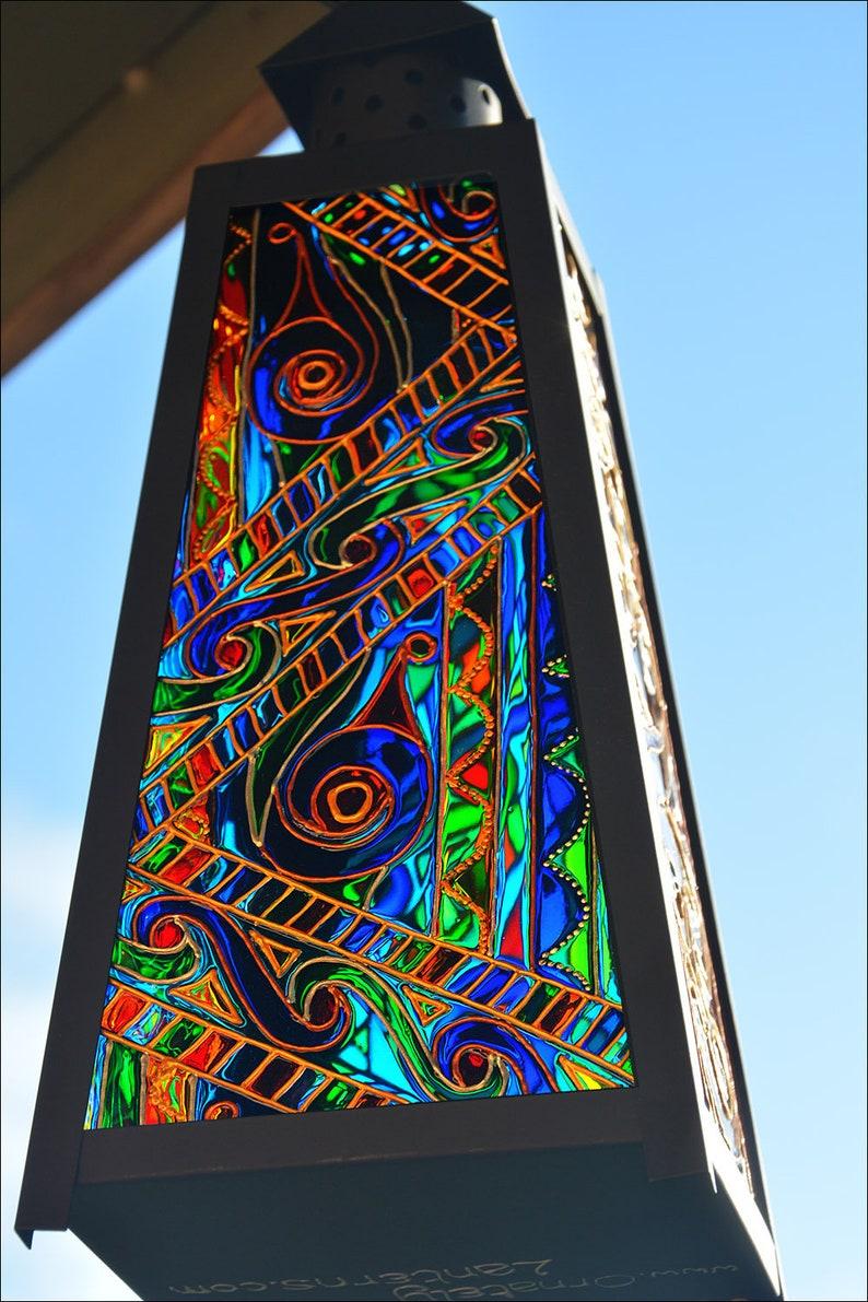 Welsh Irish Scottish Glass Art Eternity Knots in Rich Colour Celtic Knot Candle Lantern Stained Glass Garden Sun Catcher Window Ornament