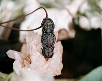 Wolf necklace Reiki attuned with Earthy Labradorite and Feather