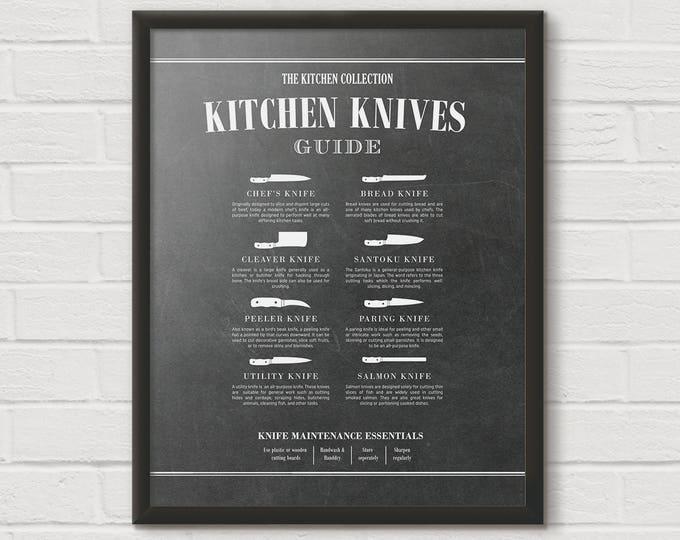 Chef Knife, Cooking Knife, Butcher Knives, Kitchen Knife Chart, Butcher Print, Kitchen Diagram, Kitchen Chart, Unique Cooking Gift, KPC14