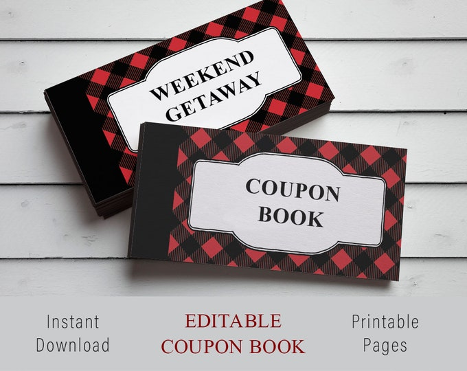 Editable custom coupon, Red buffalo plaid, Printable Template, Printable Gift, Certificate Coupon, Last Minute Gift, DIY Gift Certificate