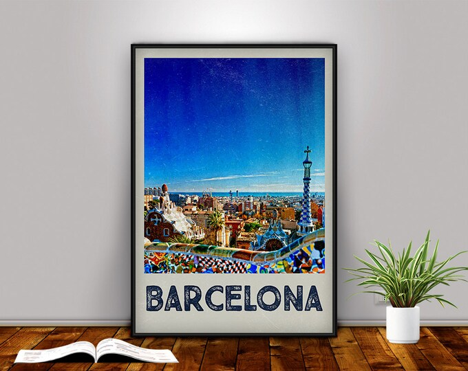 Barcelona Poster, Barcelona Print, Barcelona Travel Poster, Barcelona Art, Retro Print, Spain Poster, Park Güell, Travel Print, Travel Decor