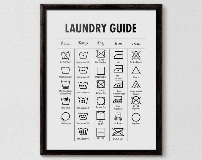 Laundry Guide, Laundry Cheat Sheet, Laundry Symbols Printable,  Bathroom Print, Affiche Scandinave, Minimalist print, Laundry, Printable Art