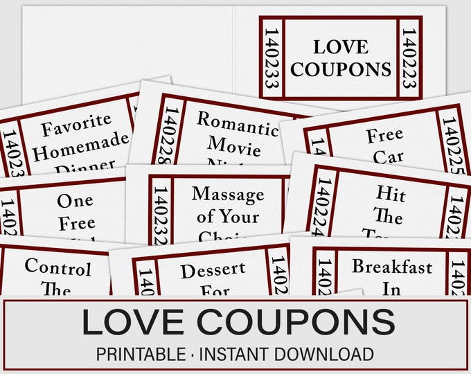 Valentines Day Gift, Love Coupons, Valentines Day Coupons, Last minute Valentines, Printable Love Coupons, Love Coupon Book, Coupon Book