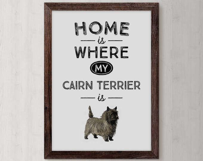 Cairn Terrier, Dog Breed, Cairn Terrier Gift, Terrier Art, Typography, Dog, Illustration, Artwork, Graphics, Terrier, Cairn Terrier Art