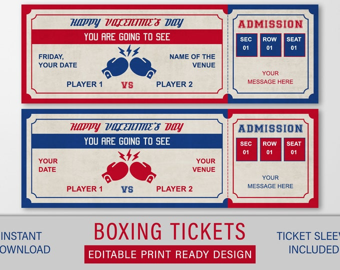 Valentines Boxing Ticket Gift, Surprise Boxing Match Ticket, Valentines Boxing Gift, Custom Printable Voucher Template, Editable Download