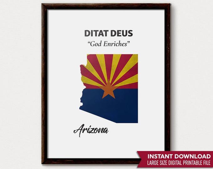 Arizona Art, Arizona Print, Arizona Art Print, Arizona Map, Arizona Decor, Arizona Wall Art, Arizona Home, Arizona State, Arizona Gift