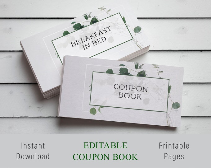 Personalized Valentines Gift, Custom Coupon Book, Custom Valentines Gift, Last Minute Valentines Gift, Editable Coupon, Personalized Print