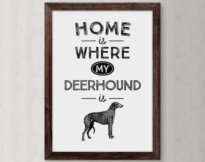 Scottish Deerhound, Deerhound Dog, Personalized Dog, Dog Lover Gift, Dog Typography Print, Dog Art, Dog Gift Idea, Dog Poster, Animal Lover