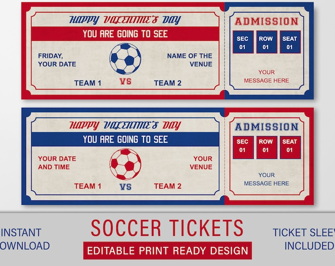Valentines Soccer Gift, Printable Soccer Ticker, Editable Gift Ticket, Surprise Soccer Game Ticket