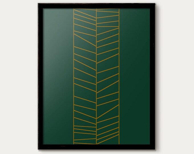 Affiche Scandinave, Green Art Print, Art Poster, Printable minimalist Art, Geometric Print, Line Art Poster, Geometric Lines, Gold Printable
