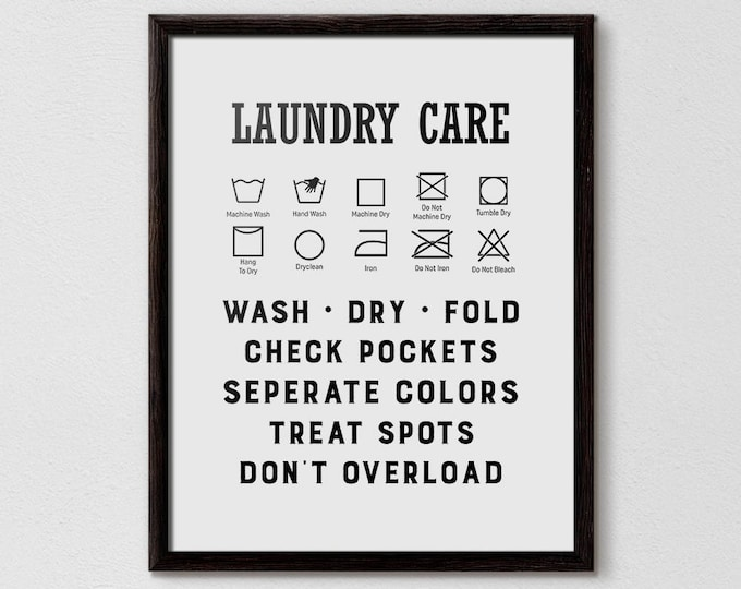 laundry wall decor, ironing sign, laundry sign, functional poster, Wash Symbols, poster bathroom, laundry symbols sign, laundry symbols,