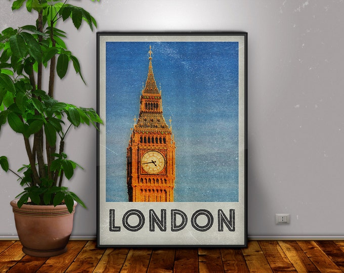 London Print, London, Big Ben, London Art, London Poster, Vintage Poster, Retro Print, Travel Art, City Print, Home Decor, Retro City Poster