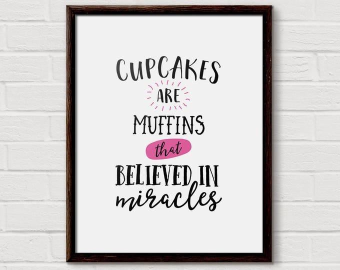 cake kitchen print, bakery print, cupcake wall art, cupcake wall decor, cupcake art print, dessert art print, cute cupcake art, Pink Kitchen