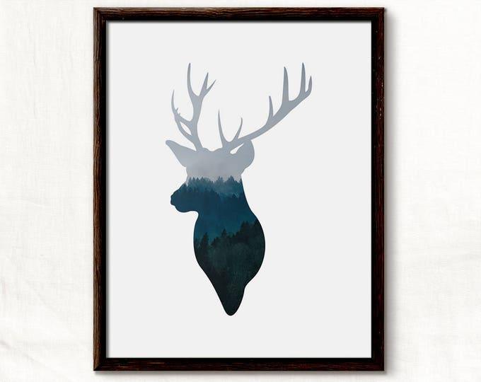Reindeer, Deer Print, Christmas Print, Blue Reindeer, Blue Christmas, Deer Art Print, Deer Head, Scandinavian Christmas, Winter Poster
