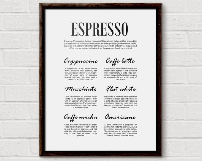 Espresso, Coffee Poster Art, Coffee Poster Print, espresso gift, Espresso Print, Espresso Chart, Coffee Types, Cafe Poster, Cappuccino Latte