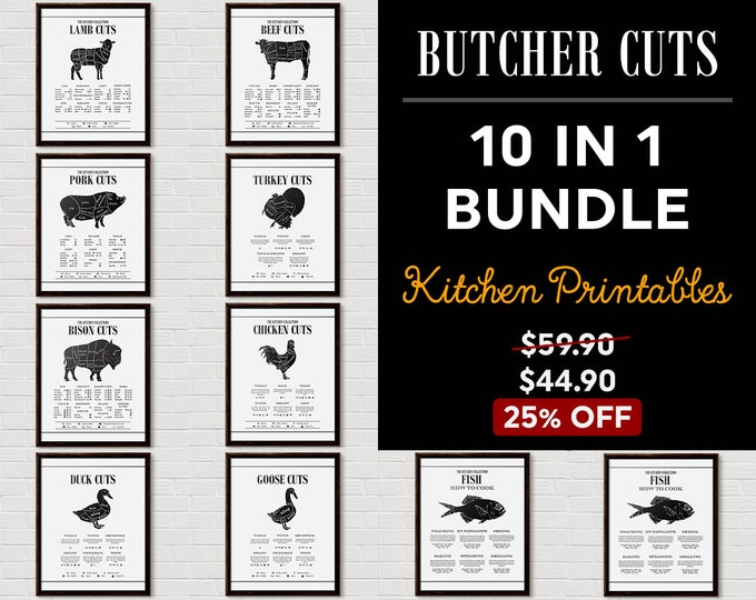 Kitchen Chart Print Set, Kitchen Printable Set, Kitchen Wall Decor, Kitchen Wall Art, Kitchen Printables, Gallery Wall, Butcher Print,