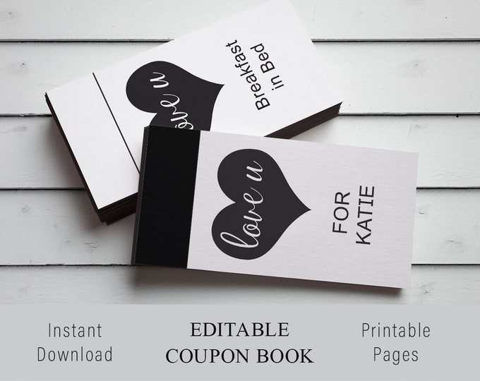 Personalized Valentines Gift, Personalized Printable, Custom Coupon Book, Custom Valentine Gift, Last Minute Valentine Gift, Editable Coupon