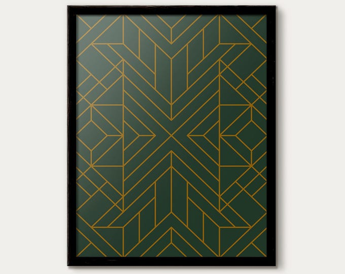 Art Deco Print, Art Deco Poster, Art Deco Decor, Art Deco Pattern Print, Minimalist Wall Art, Deco Art, Modern Office, Wall Gallery Print