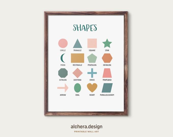 Teaching Shapes Chart, Geometric Shapes Poster,  Minimal Shapes Print, Educational Print, Homeschool educational poster, Classroom Wall