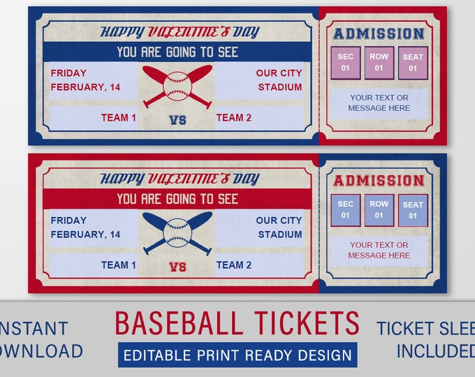 Valentines Baseball Game Ticket Gift, Surprise Baseball game ticket template, Fake Baseball Game Ticket Voucher, Editable Ticket Template