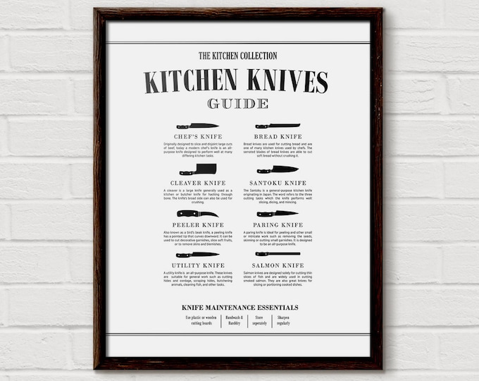 Kitchen Knife Chart, Butcher Print, Kitchen Diagram, Cooking Knife, Butcher Knives, Chef Knife, Kitchen Chart, Unique Cooking Gift, KP14