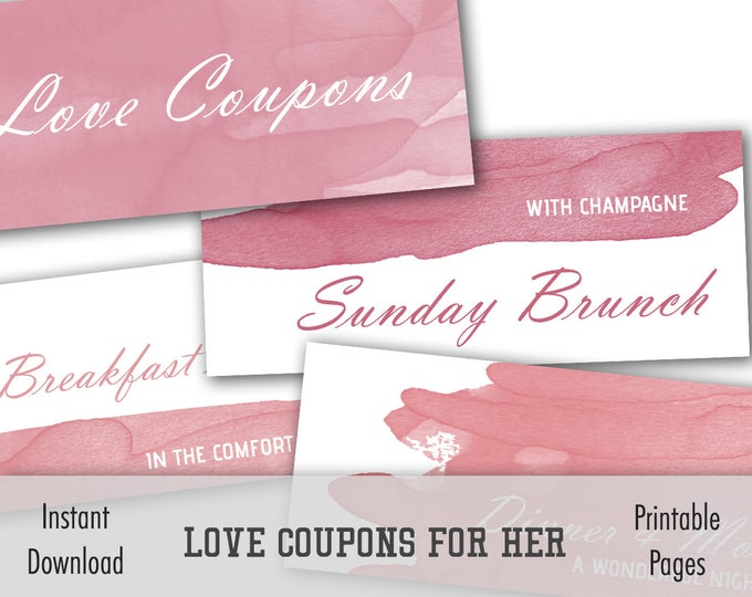 Printable Coupons, Coupons For Gf, Diy Love Coupons, Valentines Day Gift, Love Coupon Book, Valentine Gift, Printable Coupons Wife Valentine